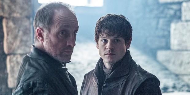 Michael McElhatton as Roose Bolton and Iwan Rheon as Ramsay Bolton. Photo / HBO