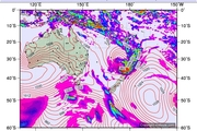 The forecast for Monday at 7am from Victoria University's MetVuw weather website predicts the tail of a tropical storm will be right over Northland ... but other forecasters say the storm may not reach us. Image / Metvuw.com