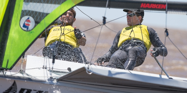 Blair Tuke (left) and Tauranga's Peter Burling lead the 49er World Championship after day one in Clearwater, Florida.