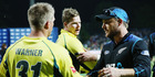 The look that says it all. Brendon McCullum shakes hands with Smith and Warner of Australia after winning the third ODI. Photo / Getty