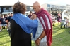 Taape Tareha-O'Reilly presented a pake kahukura to Kevin Tamati at a farewell ceremony last night. Photo / Duncan Brown