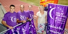 ALL GO: From left, sales manager eastern region NZME Shaun Irvin, general manager Hawke's Bay Today Russell Broughton, Property Brokers regional manager Paul Whitaker and Hawke's Bay centre manager Cancer Society of NZ Trudy Kirk, get an early look at the Relay For Life colours for 2016. PHOTO/WARREN BUCKLAND