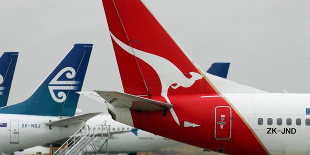 Air New Zealand and Qantas planes at Auckland International Airport. Photo / Brett Phibbs