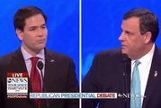 Chris Christie was the major winner on the day, taking Rubio down a notch and getting himself noticed. Photo / ABC News