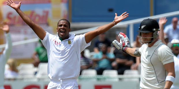 Vernon Philander unsuccessfully appeals on McCullum during the disastrous tour of early 2013. Photo / Getty Images