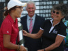 Lydia Ko was presented the New Zealand Women's Open trophy by Patsy Hankins in 2013. Photo / Getty