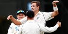 Tim Southee struck early to help New Zealand back into the first test against Australia. Photo / Getty