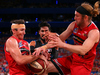 Damian Martin and Jesse Wagstaff of the Wildcats contest a rebound against the Breakers. Photo / Getty Images.