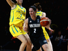 Micaela Cocks of the Tall Ferns drives to the basket against the Australian Opals. Photo / Getty Images