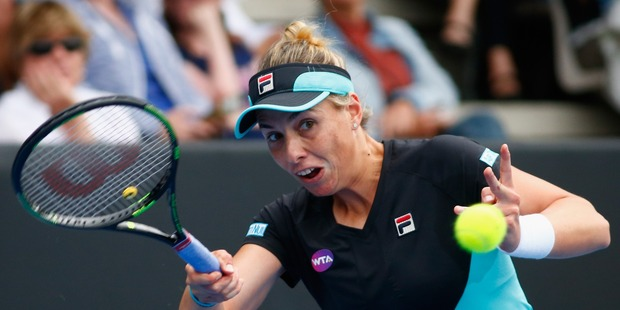 Marina Erakovic of New Zealand plays a forehand at the 2016 ASB Classic. Photo / Getty Images