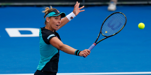 Marina Erakovic of New Zealand plays a backhand in the 2016 ASB Classic. Photo / Getty Images
