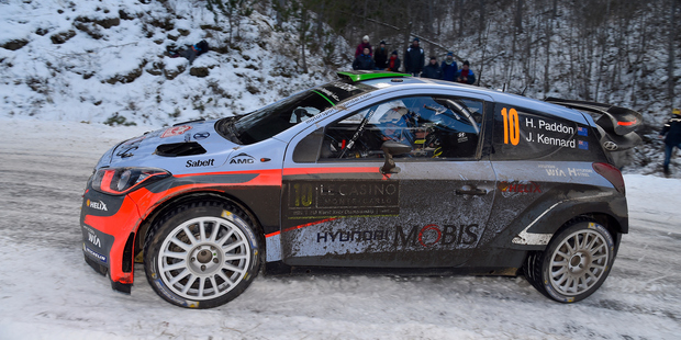 Hayden Paddon of New Zealand in the Hyundai i20 WRC during WRC Monte Carlo. Photo / Getty Images