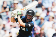 AUCKLAND, NEW ZEALAND - FEBRUARY 03: Henry Nicholls of the Black Caps plays the ball away for four runs during the One Day International match between New Zealand and Australia at Eden Park on Februar