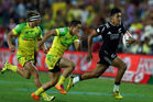 Rieko Ioane on the run against Australia. Photo / Getty
