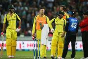 Players remonstrate during the Mitchell Marsh decision. Photo / Getty