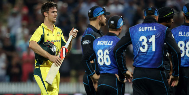 Mitchell Marsh departs after being dismissed. Photo / Getty