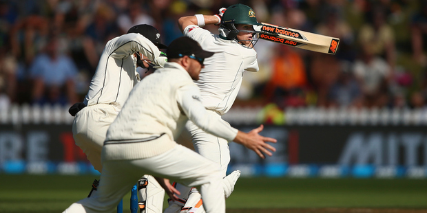 Loading Mark Craig grabbed the key wicket of Steve Smith late in the first day at the Basin Reserve. Photo / Getty