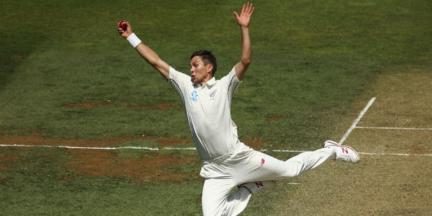 Trent Boult claims the caught and bowled. Photo / Getty