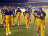 Steve Waugh leads Australia off the pitch after their 7 wicket loss to New Zealand in the final one day international at Eden Park in 2003. Photo / Getty Images