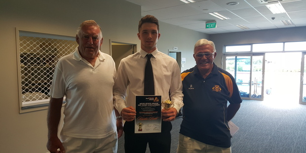 Maori Sports Awards RWC Rugby Scholarship winner Kaydin Budd with Sir Colin Meads (left) and Bryan Williams. Photo/supplied