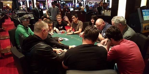 The final table of the Waitangi Deep Stacks Main Event at Sky City casino.