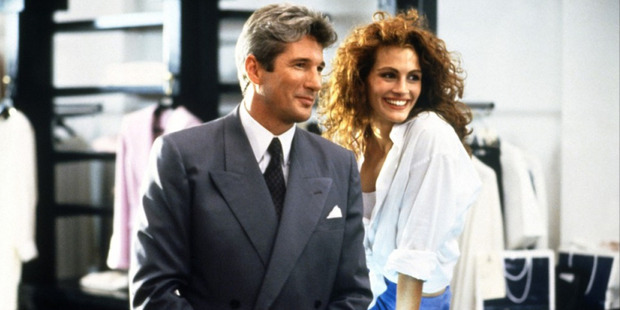 Richard Gere and Julia Roberts in the 1990 movie Pretty Woman.