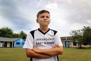 Jordan Herewini, 10, models the new Whanganui East sports uniform at his school last week. PHOTO/STUART MUNRO