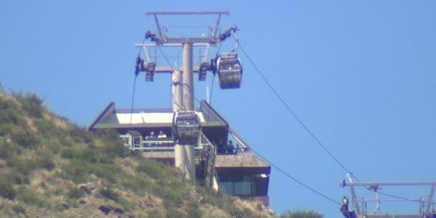 Passengers were trapped for about two hours in the Christchurch Gondola yesterday afternoon. Photo / Supplied
