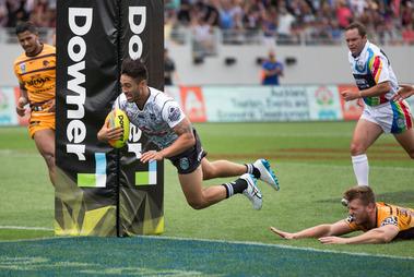 NZ Warriors Shaun Johnson gets the winning try against Brisbane Broncos, during their Round 3 match, at the 2016 NRL Downer Auckland Nines. Photo / Brett Phibbs.