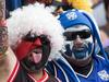 New Zealand Warriors fans at the NRL Nines at Eden Park. Photo / Greg Bowker
