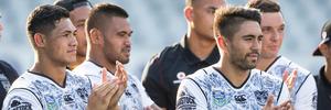 New Zealand Warriors Roger Tuivasa-Sheck and Shaun Johnson congratulates the Parramatta Eels in the Final of the NRL Nines at Eden Park. Photo / Brett Phibbs.