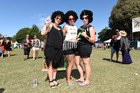 RASTA SISTERS: Self-proclaimed rasta sisters Shondel Kahui, Lisa Nock and Sheree Scown donned their 'fros for the One Love Festival. Photo/George Novak