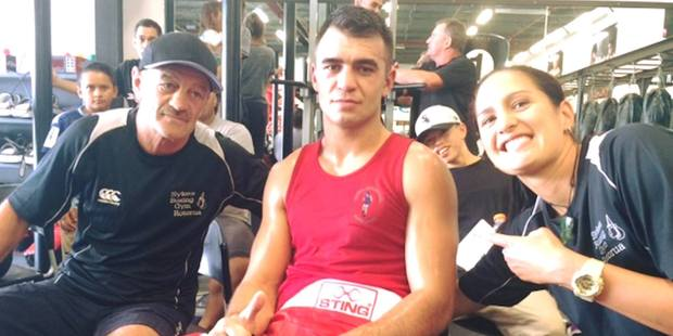 Rotorua's Tyson Sykes is pictured with coach Mike Sykes (left) and manager Melissa Ruru.