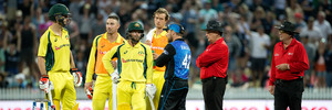 Australian batsman Mitchell Marsh departs in anger after being given out during play in the third ODI between New Zealand and Australia. Photo / Getty Images
