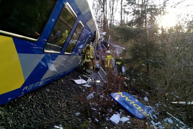 Several people have been killed and over 100 injured in a two train collision in Bavaria, Germany. Photo / Twitter / JRE