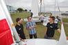 The Tauranga Yacht Club have four new 420 class boats. New Zealand sailors, Sam Meech (left) and Tom Saunders (right) talk with Chair, Stuart Pedersen. Photo/John Borren