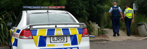 Police at the scene of a drowning at Trout Pool on the Kaituna River this afternoon. PHOTO/STEPHEN PARKER