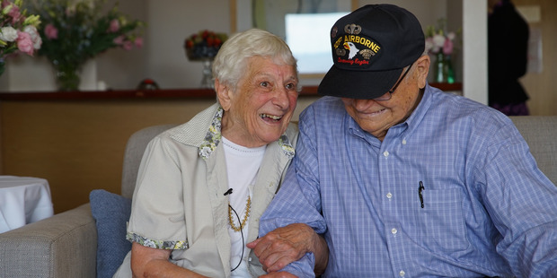 Former WWII sweethearts 93-year old Norwood Thomas from Norfolk Virginia and 88-year-old Joyce Morris now living in Adelaide Australia were reunited by Air new Zealand. Photo / Air NZ