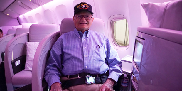 Norwood Thomas on his way to be reunited with his wartime girlfriend. Photo / Air NZ