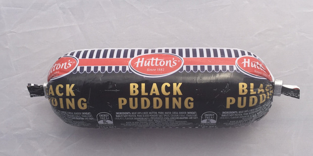 Hutton's Black Pudding. $3.50 for 250g. Photo / Supplied