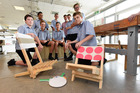 Daniel Kelsey, George Howard, Caelum Rogers-Hall, Charles Hibberd, Reinhardt Steenkamp, Mike Wright, Louis Wright, Lewis Farr and Lucas Giles helped build toy libraries for Papamoa beaches. Photo / George Novak