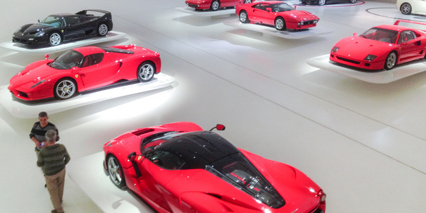 Rare sports cars - some are one-off models - at the Enzo Ferrari Museum in Modena. Photo / Ewan McDonald