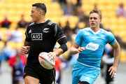 Sonny Bill Williams of New Zealand breaks away for a try during the 2016 Wellington Sevens pool match between New Zealand and Russia. Photo / Getty Images.