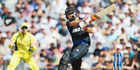 Grant Elliott of the Black Caps plays the ball away for four runs during the One Day International match between New Zealand and Australia. Photo / Getty Images.