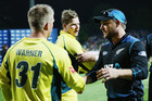Steve Smith of Australia and David Warner of Australia shake hands with Brendon McCullum of the Black Caps. Photo / Getty Images.
