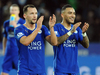 Leicester's Daniel Drinkwater, left, and Leicester's Danny Simpson salute fans after Leicester beat Stoke 3-0 during the English Premier League. Photo / AP.