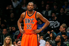 Oklahoma City Thunder forward Kevin Durant (35) reacts in the second half of an NBA basketball game against the Brooklyn Nets. Photo / AP.