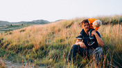 Josh Duhamel with his toddler son Axl, in Theodore Roosevelt National Park in the Wind Canyon, North Dakota. Photo / AP