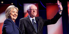 Democratic presidential candidates Hillary Clinton and Sen. Bernie Sanders. Photo / AP