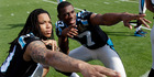 Carolina Panthers wide receiver Kelvin Benjamin, left, and wide receiver Devin Funchess (17) pose for a photo inside Levi's Stadium. Photo / AP.